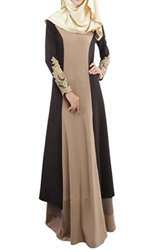 Oberora-Women Kaftan Islamic Abaya Muslim Turkish Robes Gown Dress Coffee L by Oberora-Women