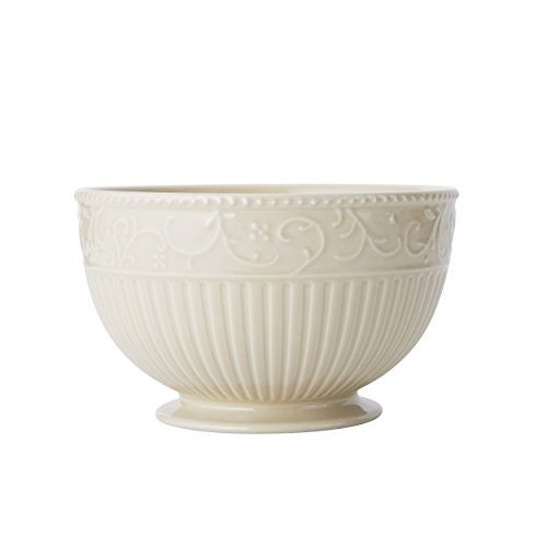 Mikasa Italian Countryside Accents Footed Soup/Cereal Bowl, Scroll Beige ()