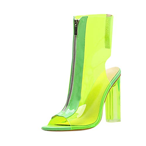 JJHAEVDY Women Clear PVC Chunky Block Heel Sandals Fashion Chic Open Toe Dress Shoes High Heels Boots Sandal with - Spring Allegra Step