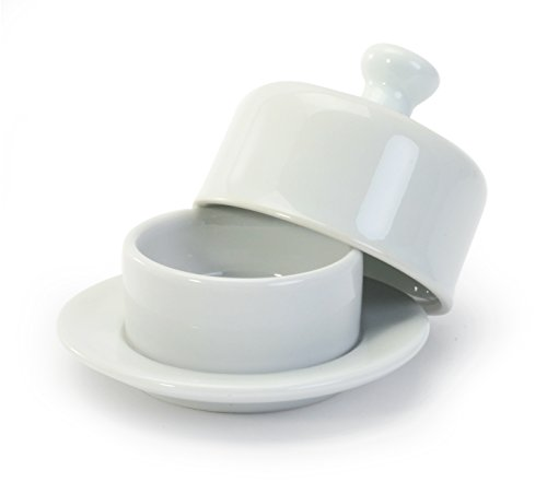 BIA Cordon Bleu White Porcelain Butter Dish with Cover - 3.5 inch