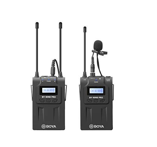 BOYA by-WM8 Pro-K1 UHF Wireless Microphone System 48 Channels Mono/Stereo Mode LCD Display 100M Effective Range for Canon Nikon Sony DSLR Cameras Camcorders with Cleaning Cloth