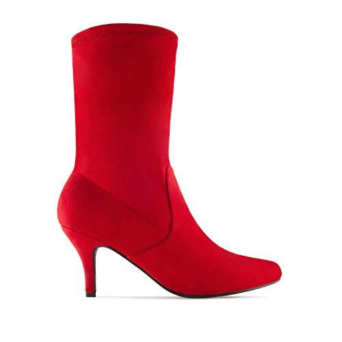 botín Rojo 35 Andres Machado Elástico Para Mujer Tallas am4104 Ante Pequeñas 32 q1FUZ
