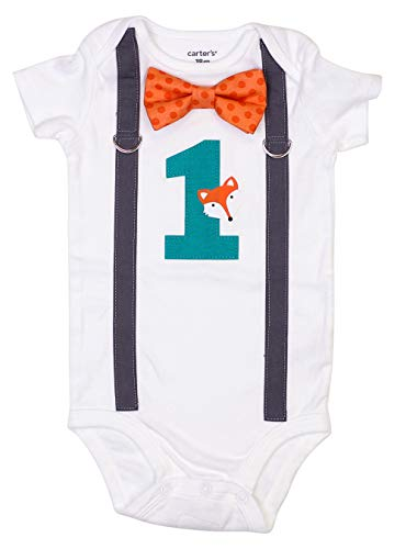 Cuddle Sleep Dream Baby Boy 1st Birthday Outfit with Bow Tie and Suspenders (18 Month, FoxM) (1st Birthday Boy Hugs)