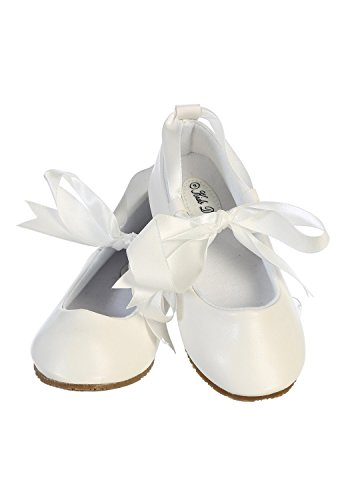 Ballerina Ribbon Tie Rubber Shoes Cinderella Flats Girls Party White Size 10 (Cinderella Shoes Kids)