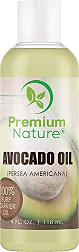 Avocado Oil Natural Carrier Oil - for Essential Oil Mixing, Massage Body Oil Moisturizer for Skin Hair & Nails, Pure Oil for Aromatherapy, Therapeutic Grade Anti Aging Skin Care 118 ml Premium Nature