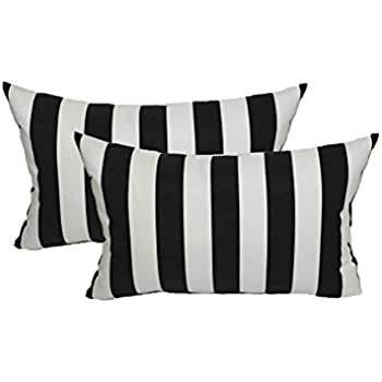 set of 2 indoor outdoor decorative lumbar rectangle pillows black and white stripe