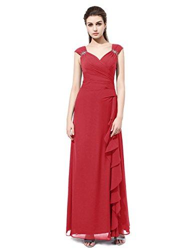 Dresstells®Vestido De Fiesta Largo Mujer Boda Madrina Noche Partido Ceremonia Con Tirantes Rojo Oscuro