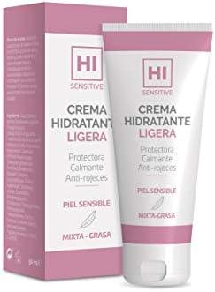 HI Sensitive   Crema Hidratante Ligera   Crema para Pieles Sensibles, Mixtas y Grasas   Crema Protectora, Calmante y Anti-Rojeces   Para Cara, Cuello y Escote