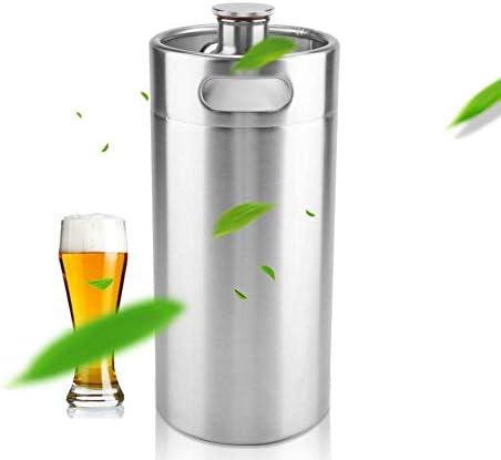Bierfass, Mini Bierfass aus Edelstahl, Weinfass mit Spiral Abdeckung, Gute Abdichtung, Rostfrei, langlebig, Edelstahl Fass für den Außen- und Heimgebrauch(3.6L)