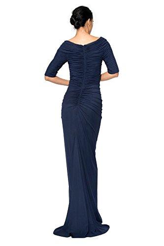 Tadashi Shoji Indigo Asymmetrical Ruched Mesh Gown Petite Large PL