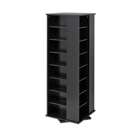 By Home Design Media Storage,Tower Racks,Spinning,Adjustable Shelves,Black Finish (Dvd Rack Storage 200)