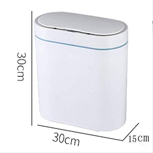 Uayasily Papelera Inteligente Can Can Sensor autom/ático de Basura para la Cocina Ba/ño de Basura de la bater/ía Tipo 16L Blanca