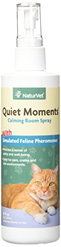 NaturVet - Quiet Moments Herbal Calming Room Spray - Provides a Sense of Safety & Well-Being - Great for Cars, Crates & New Environments - 8 oz Feline Spray