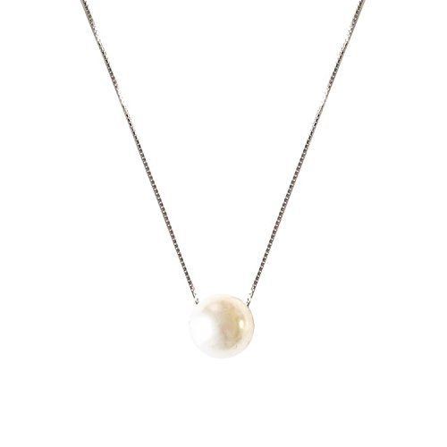 ASTRO 925 sterling silver Necklace Chain Freshwater Cultured White Pearl Pendant Necklace S-1