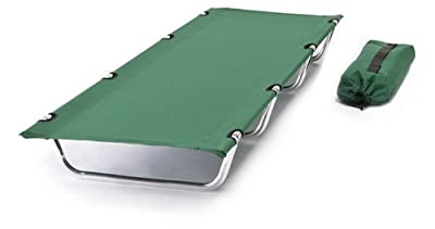 World Outdoor Products Big Bear COMPACT ROLLUP Camping Cot with Anodized Aluminum Frame in Hunter Green Featuring 600 D Washable and Mildew Resistant Polyester Fabric and a LED Flashlight!