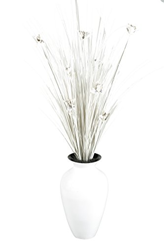 Spun Bamboo Vase (D & W Silks Ting with Blossoms in Spun Bamboo Vase, White)