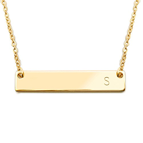 18K Gold Plated Initial Bar Necklace Mothers day Graduation gift 17.5 inch Personalized Bar Necklace (S) - 4N