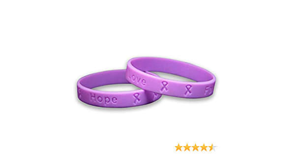7.5 or 7.75 Stamped Metal Cancer Awareness Bracelet Fundraiser for American Cancer Society Lavender Faith
