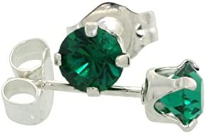 Sterling Silver 4mm Round Birthstone Crystal Stud Earrings with Swarovski Crystals 1/2 ct total
