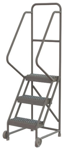 Tri-Arc KDTF103162 3-Step Tilt and Roll Industrial & Warehouse Steel Ladder with Grip Strut Tread, 16-Inch Wide (Roll Steel Ladder)
