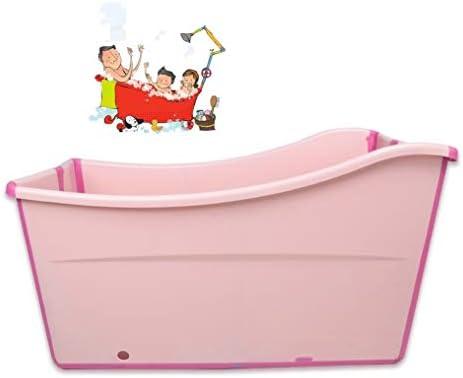 折りたたみバスタブ GYF 大人の折りたたみ浴槽プラスチックベビースイミングプール子供風呂バレル家庭用大型ポータブル浴槽 90x50x56cm子供用プール全身シャワーポットバスタブ (Color : Pink)