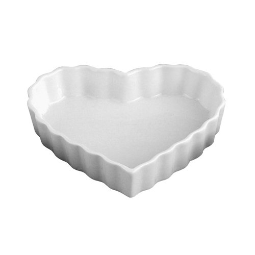 HIC Heart Creme Brulee, Fine White Porcelain, 5 x 1-Inch, Set of 6