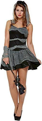 Ladies Short Corpse Bride Sexy Halloween Horror Scary Fancy Dress Costume Outfit 8-12 -