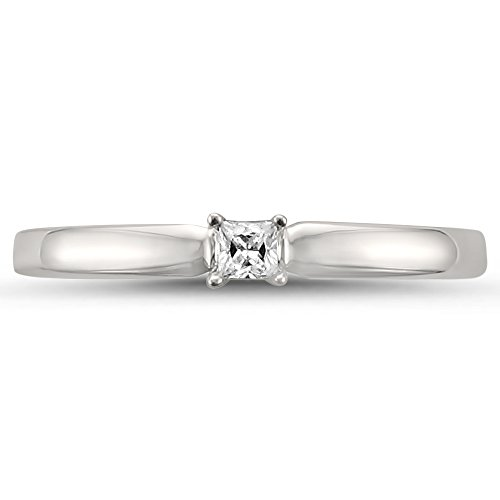 14k White Gold Princess cut Solitaire Diamond Promise Ring (1/10 cttw, H I, I1 I2)