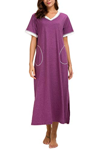 AVIIER Long Nightgown Womens Lounge Dresses with Pockets V Neck Short Sleeve Maxi Nightshirt Sleepwear (Purple, M)
