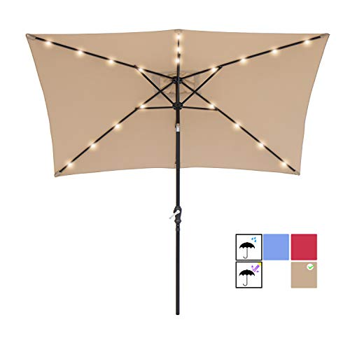 SUNBRANO 7 by 9 Ft Solar Powered LED Lighted Patio Umbrella Table Market Umbrella with Crank and Tilt, Taupe