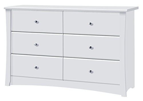 Storkcraft Crescent 6 Drawer Dresser, White, Kids Bedroom Dresser with 6 Drawers, Wood and Composite Construction, Ideal for Nursery Toddlers Room Kids - Oval Dresser Bedroom