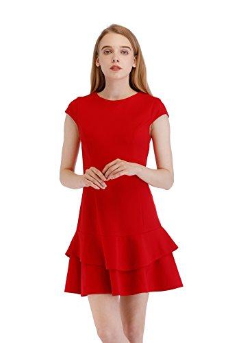 Ruffle Dress Hem (SUNNOW Women's Cap-Sleeve Sheath Crepe Ruffle Hem A Line Dress (XL=US 10-12, Red))
