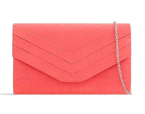 Women's Purse Handbag Ladies Bag Bag KL809 Envelope Suede Evening Coral Faux Clutch Pleated qgXBq