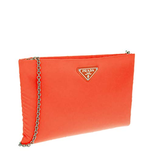 Orange neon Padded Prada Women��s Medium Nylon Clutch xPq7AY0