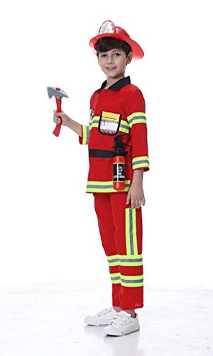 yolsun Fireman Role Play Costume for Kids, Boys' and Girls' Firefighter Dress up and Play Set (7 pcs) (8-10y, red)]()