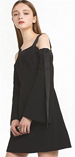 Moda Cold Open Shoulder Hombros al Descubiertos Aire Manga Larga Mangas Acampanadas Minivestido Mini de Corte A-Line en línea Skater Plisado Dress Vestido Negro Negro
