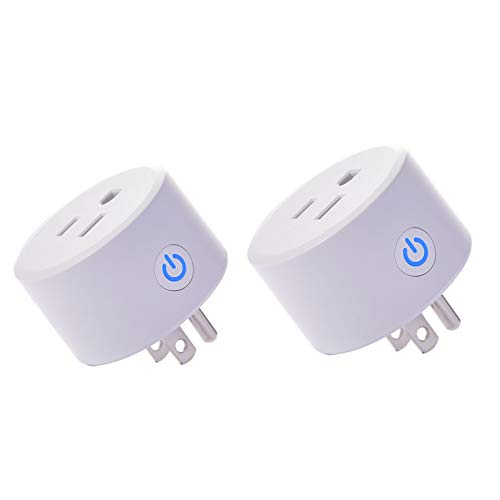 (Mini Wifi Outlet Smart Plug Compatible with Alexa, Google Home & IFTTT, Remote Control Your Home Appliances from Anywhere,Only Supports 2.4GHz Network(2 pieces))