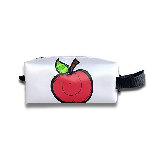 Durable Zipper Storage Bag Makeup Handbag Apple Smiling Toiletry Bag With Wrist Band