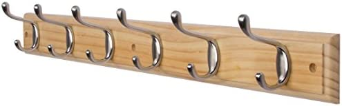 DOKEHOM 6-Satin Nickel Hooks – Available 4 and 6 Hooks in 4 Colors – on Pine Wooden Board Coat Rack Hanger, Mail Box Packing
