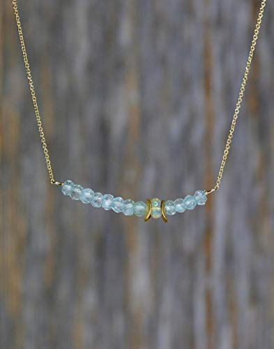 - Genuine Aquamarine Gemstone Bar Necklace Opal March Birthstone 17 Inch Length