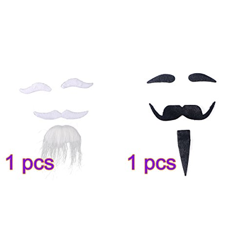 Tinksky Novelty Halloween Costumes Self Adhesive Fake Eyebrows Beard Moustache Goatee Kit Facial Hair Cosplay Props Disguise Decoration For Masquerade Costume Party (White + (White Costumes Mustache And Beard)
