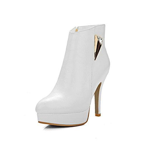 Bottes à pointu à métal taille Voguezone009 hauts talons femmes bout blanc haute pour avec et reflets 1Yxfxqd0w