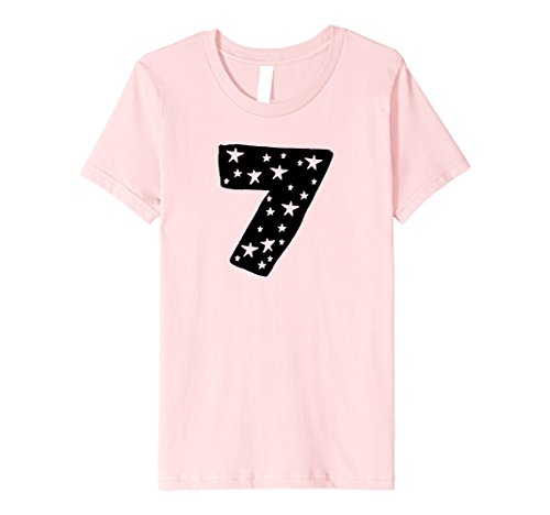 Price comparison product image unisex-child Girls 7th Birthday Star T-Shirt for Seventh B-Day - I'm 7 8 Pink