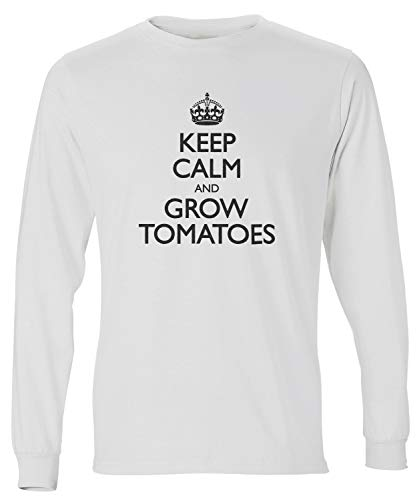 shirtloco Men's Keep Calm and Grow Tomatoes Long Sleeve T-Shirt, White Small