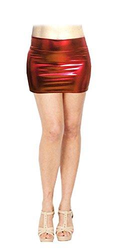 SACASUSA (TM) Shiny Stretchy Metallic Wet Look Mini Skirts in Red Medium