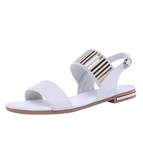 Cenglings Roman Shoes,Women's Open Toe Rivets Ankle Strap Buckle Slingback Casual Beach Shoes Beach Flat Sandals White