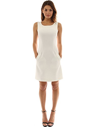 A-line Sheath (PattyBoutik Women's Sleeveless Pocket A-Line Sheath Dress (Off-White S))