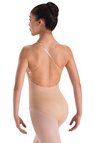 (Motionwear Underwear Convertible Clear Strap Leotard, Nude, Medium Child )