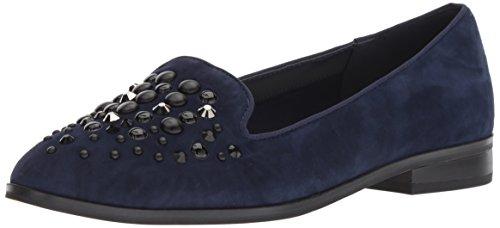 Anne Klein Suede Loafers - Anne Klein Women's Della Loafer Flat, Navy Suede, 7.5 M US