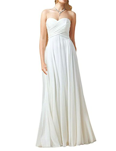 OYISHA Women's Long Strapless Chiffon Beach Wedding Dress...